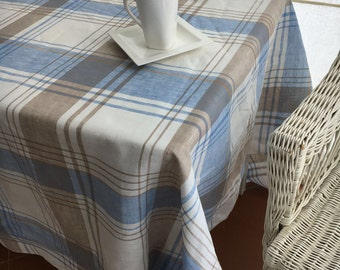 Linen Tablecloth, Tartan Tablecloth, Rectangle Tablecloth, Checkered  Tablecloth, Blue And Brown Tartan