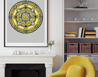"SALE! Large Folk Mandala 2 Art Print 24""x34"""