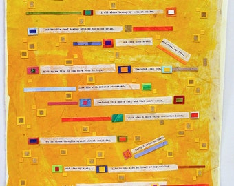 Shakespeare Sonnet 29 Collage- Sonnet xxvix - Yellow, Orange- Abstract Mixed Media- 15x22- Poetry Art- Vertical Wall Art