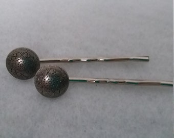 Metal Button Bobby Pins