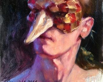 Original Portrait Painting Alla Prima Man in Italian Mask