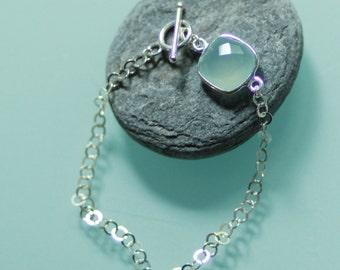 Chalcedony blue and silver bracelet massif