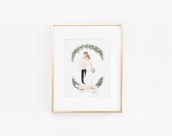 Beautiful Romantic Custom Couple Illustration Wedding Engagement Anniversary Gift Idea