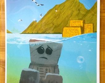 Aqua - Sad Robot print - A4