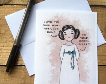 Princess Leia Love You Blank Notecards - Star Wars Blank Notecards - Princess Buns Blank Notecards