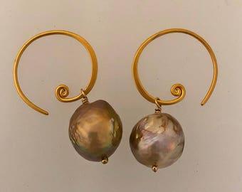 Golden natural pearl earrings