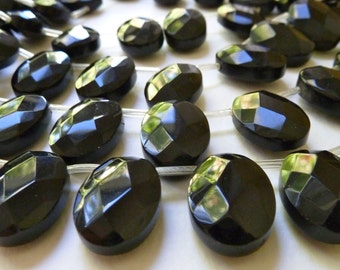 Large Faceted Black Glass Briolettes, Oval Briolettes  -  Top Drilled Left to Right - 13x18mm -  Qty 5 pcs
