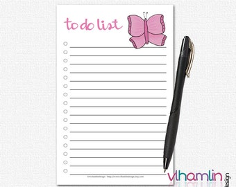 Cute To Do Lists - To Do Notepad - To Do List Notebook - To Do List Notepads - Simple To Do List    Butterfly