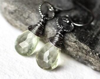 Prasiolite Earrings - Green Amethyst Earrings - Sterling Silver Earrings - Green Earrings - Handmade - February Birthstone - Christmas Gift