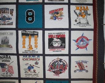 Custom Made T-SHIRT QUILT from your T-shirts - bring out those shirts from high school or college - have them arranged in a quilt to display