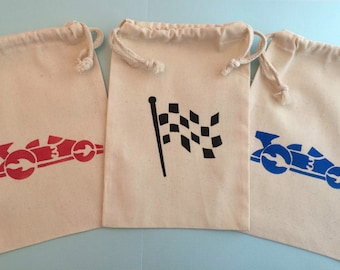 Race Car Party Favor Bags- Various Color Race Car & Finish Flag Designs- Muslin Bags With Racing Car Designs, Transport Party Supplies