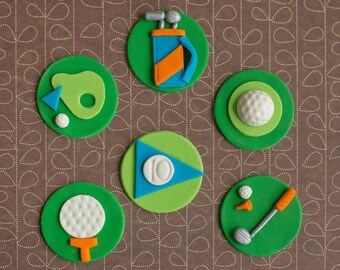 Fondant Golf Ball, Golf Club, Golf Bag and Flag Cupcake Toppers for Cupcakes, Cakes or Cookies