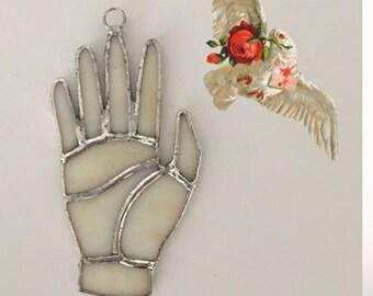 "Stained Glass Hand Bohemian Suncatcher - ""Dove"""
