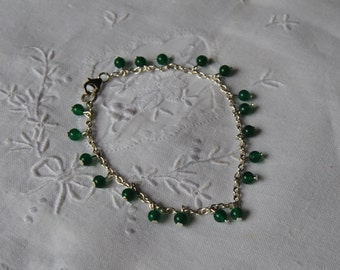 Green, onyx, bracelet, made in Italy, gemstones, 925 sterling silver chain