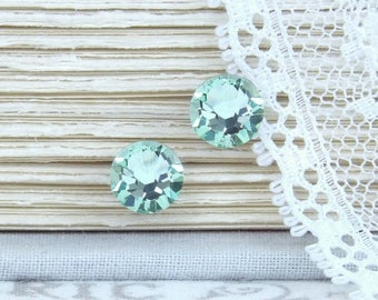 Mint Green Studs Rhinestone Studs Green Crystal Studs Green Stud Earrings Surgical Steel Studs