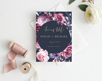 Navy Blue Printable Save the Date Template, Floral Watercolor Burgundy Wedding Save-the-Date, Gold Save the Date Wedding Card #B102