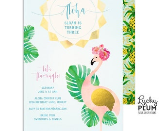 Flamingo Birthday Invitation / Luau Birthday Invitation / First Birthday Invitation / Tropical Birthday Invitation / Adult Aloha