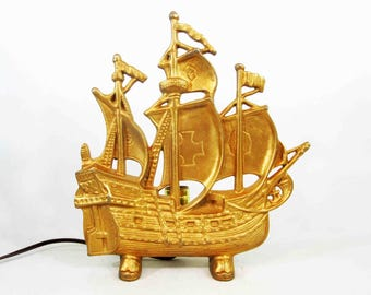 Vintage Spanish Galleon Silhouette Ship Lamp. Metal with Brass Finish. Circa 1960's.