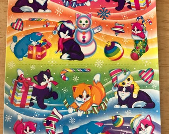 Vintage Lisa Frank Holiday Stickers Christmas Kittens S357