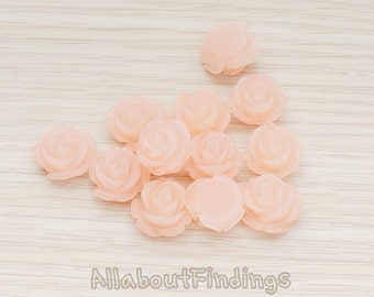 CBC141-01-IP // Ice Peach Colored Curved Petal Rose Flower Flat Back Cabochon, 6 Pc