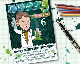 Science Birthday Party Invitation for boy or girl - Illustrated from your photo DIGITAL FILE