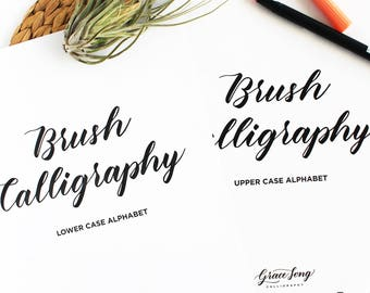 Bundle, Complete Basic Strokes, Upper and Lower Case Brush Calligraphy Guide, Calligraphy Worksheets