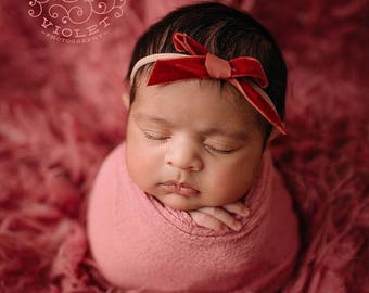 CINNAMON VINTAGE VELVET Skinny Hand-tied Bow (Headband or Clip)- velvet bow headband; velvet bow; newborn headband; baby headband; bow