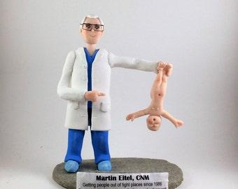 Custom Retirement Figurine, Cake Topper.  Midwife sculpture