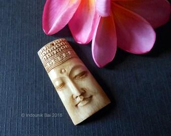 Beautiful Buddha Carved Bone Brown Pendant Bead 40mm