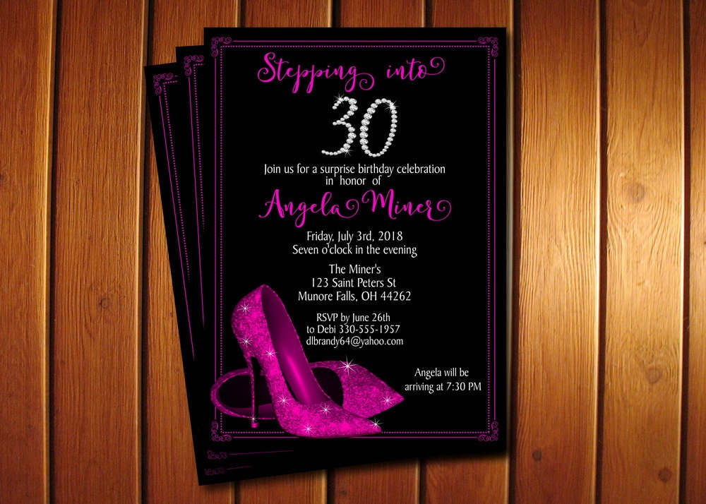 Hot Pink Glitter Shoes Birthday Invitation High Heel Shoes