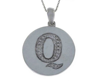 Initial Letter Q Pendant .925 Sterling Silver Rhodium Finish