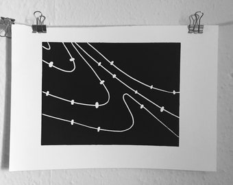Small galactic dust lino print