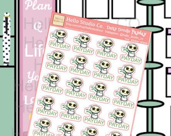 Daisy Doodle Pay day planner stickers hand drawn doodle stickers
