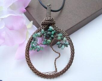 Emerald pendant , tree of life pendant , wire wrapped pendant , wire wrapped jewelry , wire jewelry , tree of life jewelry , birthstone gift
