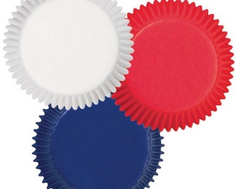 Red, White, Blue Wilton Standard Cupcake Liners Baking Cups Muffin Cups Patriotic Cupcake Liners Fourth of July, Memorial Day