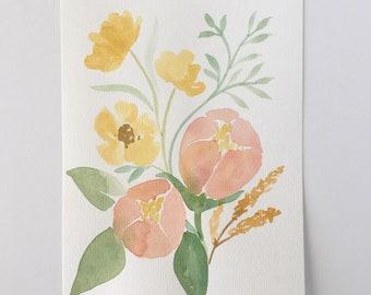 Pastel Florals - ORIGINAL Watercolor Painting - Springtime Decor - Botanical Art - Home Decor - Wall Art - 6x8