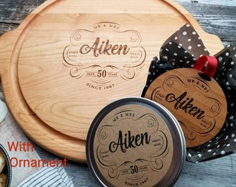 50th Anniversary AND Ornament Set, Personalized for ANY anniversary. 50th wedding anniversary gift for Parents