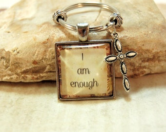Inspirational Key Ring Affirmation Quote on Keyring in Gift Bag I am enough for Friends Moms Teens