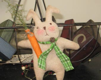 Prim Bunny, Easter Bunny, Bunny Bowl Filler, Bunny Tuck, Bunny Peg Hanger, Bunny With Carrot, Easter Decoration, Vintage Bunny, Spring Decor
