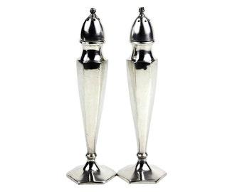 Art Deco Salt & Pepper Shakers, Hexagon Shape, Benedict Proctor Silver Plate