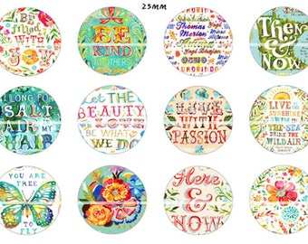 NN02 cute words 12 Digital Images/designs for 30/25/20/18/16/15/14/12/10/8 mm cabochon round