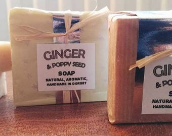 Natural ginger soap and poppy seeds