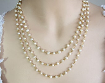 Bridal Golden Necklace Genuine Pearls Wedding jewelry Ivory White Pearls Bride Necklace multi Strand Vintage Style White Wedding Necklace