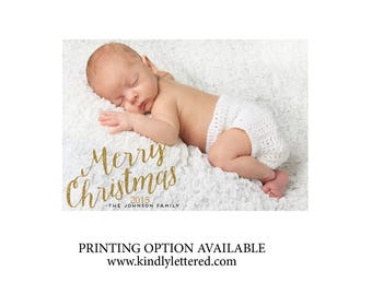 Printable Christmas Card-Digital File-Personalized Photo Card-Newborn Holiday Card Printable invitation-Family Christmas Card