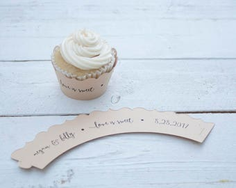 Tan Wedding Cupcake Wrappers - Love is Sweet - Custom Cupcake Wraps - Personalized Cupcake Wrap - Bridal Shower - Many Colors Available