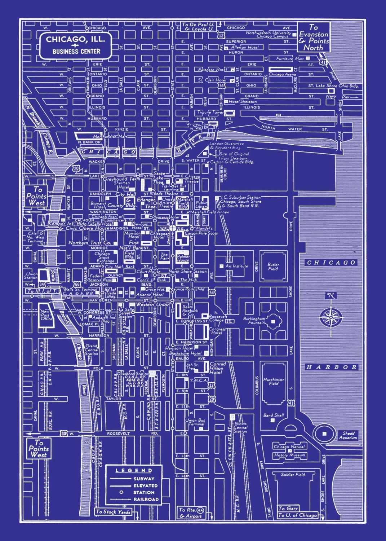 1949 vintage map of chicago illinois 20x30 blueprint map print zoom malvernweather Choice Image