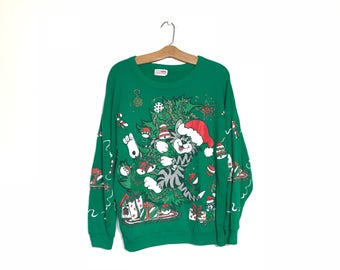 Vintage Christmas Sweater Large Cat Sweater 80's Christmas Sweater 90's Souchy Ugly Christmas Sweater Green Kitten Sweater Sweatshirt P