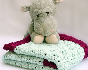 Mint and berry, baby blanket, crochet baby blanket, textured photo prop, crochet blanket, travel blanket, crib blanket, crochet baby afghan