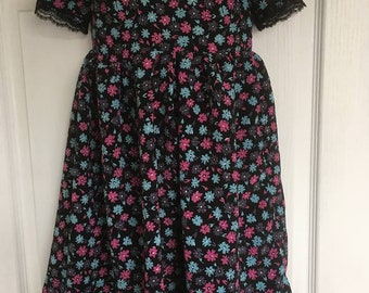 girls black floral print dress age 4