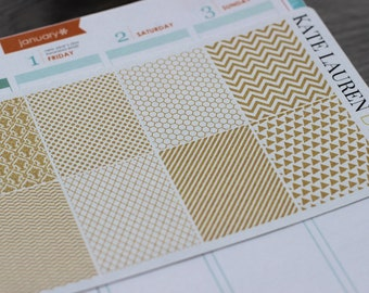 Gold Full Box Planner Stickers for Erin Condren, Gold Stickers, Holiday Gift for Planners, Gold Patterns